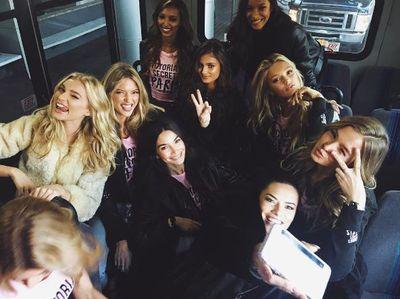 All aboard. Models Elsa Hosk, Adriana Lima, Lily Aldridge, Martha Hunt, Jasmine Tookes and Angels.