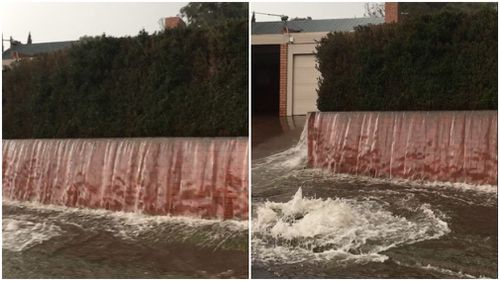 Water was filmed gushing from the Westmeadows home. (Supplied/Brian Taylor)