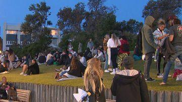 Crowds gather at Bondi Beach in Sydney.