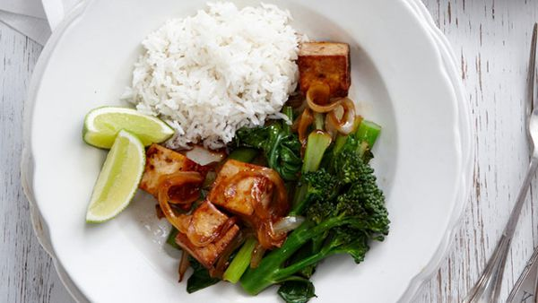 Tofu with stir-fried Asian greens