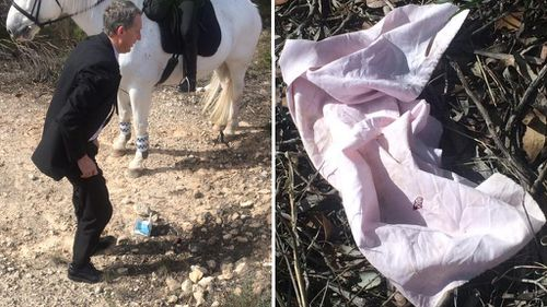 Police have located a book (left) and a torn piece of material (right) in the search area. (9NEWS)