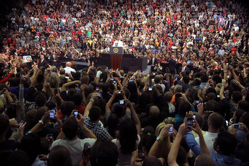 People use their phones to document much of their lives, just like this crowd who gather to listen to then US President Barack Obama speaking in Florida.