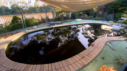 The pool water had turned black. Picture: A Current Affair