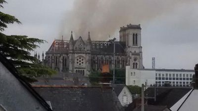 """Local vicar Michel Bonnet said it was lucky the fire broke out when it did.  """"If it had happened a little bit sooner, at 9:00am, you would have had about 80 people there for morning mass,"""" Bonnet said.  """"And on Sunday, we have between 900 and 1,000 people in the church. It's an accident. I'm pretty philosophical about it. The church hasn't totally collapsed. There were no serious injuries... but the church will be closed for quite a few months,"""" added Bonnet."""