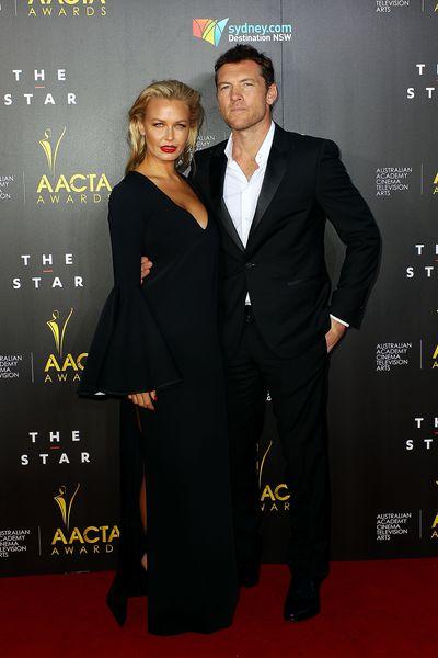 Lara Bingle and Sam Worthington at the 3rd Annual AACTA Awards Ceremony in Sydney, January, 2014