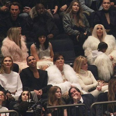 Guests included Gigi and Bella Hadid, Kim Kardashian-West and North West, Kylie Jenner, Khloe Kardashian, Kris Jenner, Balmain creative director Olivier Rousteing and Karlie Kloss.