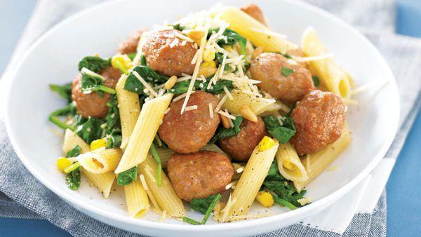Sausage balls and pasta