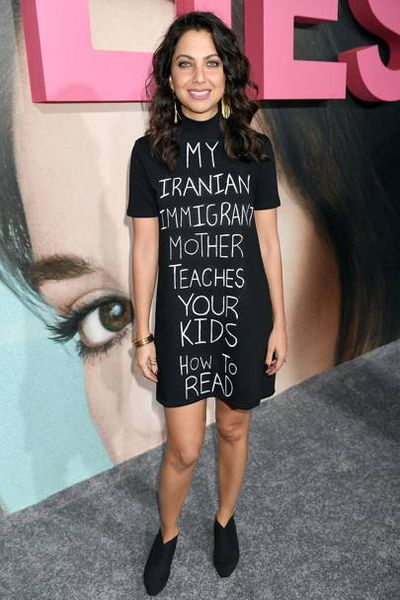 Actress Kathreen Khavari attended the premiere of <em>Big Little Lies</em> in Los Angeles wearing a T-shirt dress with a political message for Donald Trump, February, 2017