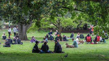 Picnic and park goers are seen at the Royal Botanic Gardens in Melbourne, Australia