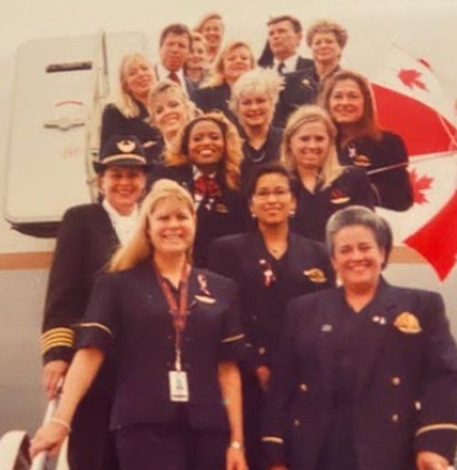 Victorian woman Marian Bradley, bottom left, was stranded in a tiny Canadian town after 9/11.