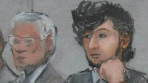 A courtroom sketch of Dzhokhar Tsarnaev during jury selection.