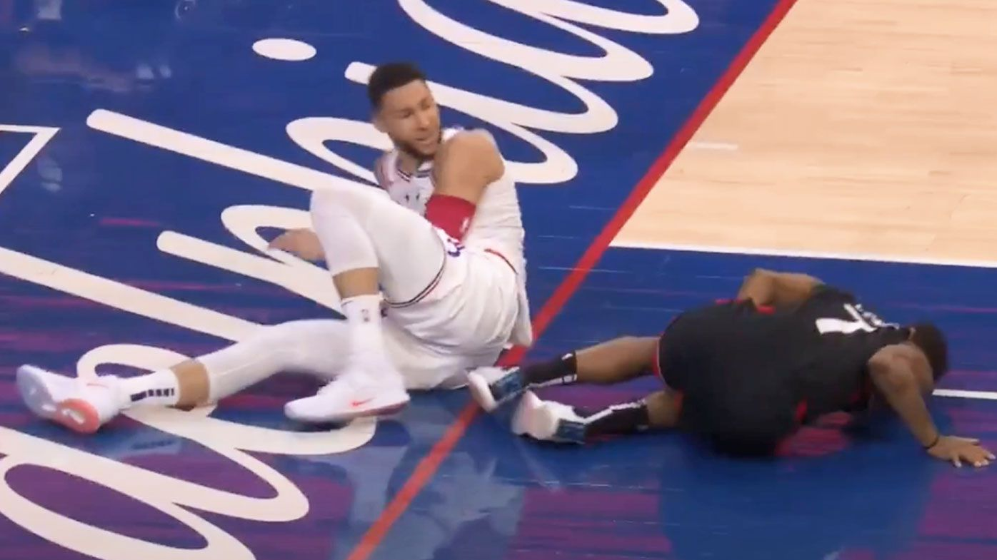 Simmons reacts after Lowry went down