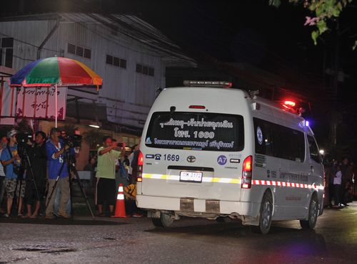 An ambulance transporting the freed children arrives at a hospital in Chiang Rai province. Picture: AAP