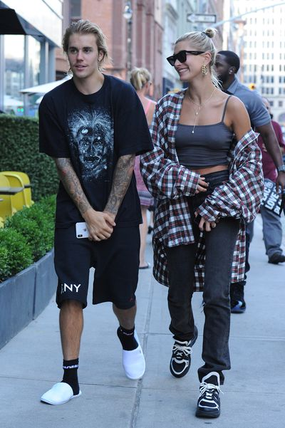 Justin Bieber, Hailey Baldwin seen on the streets of Manhattan on August 08, 2018 in New York.