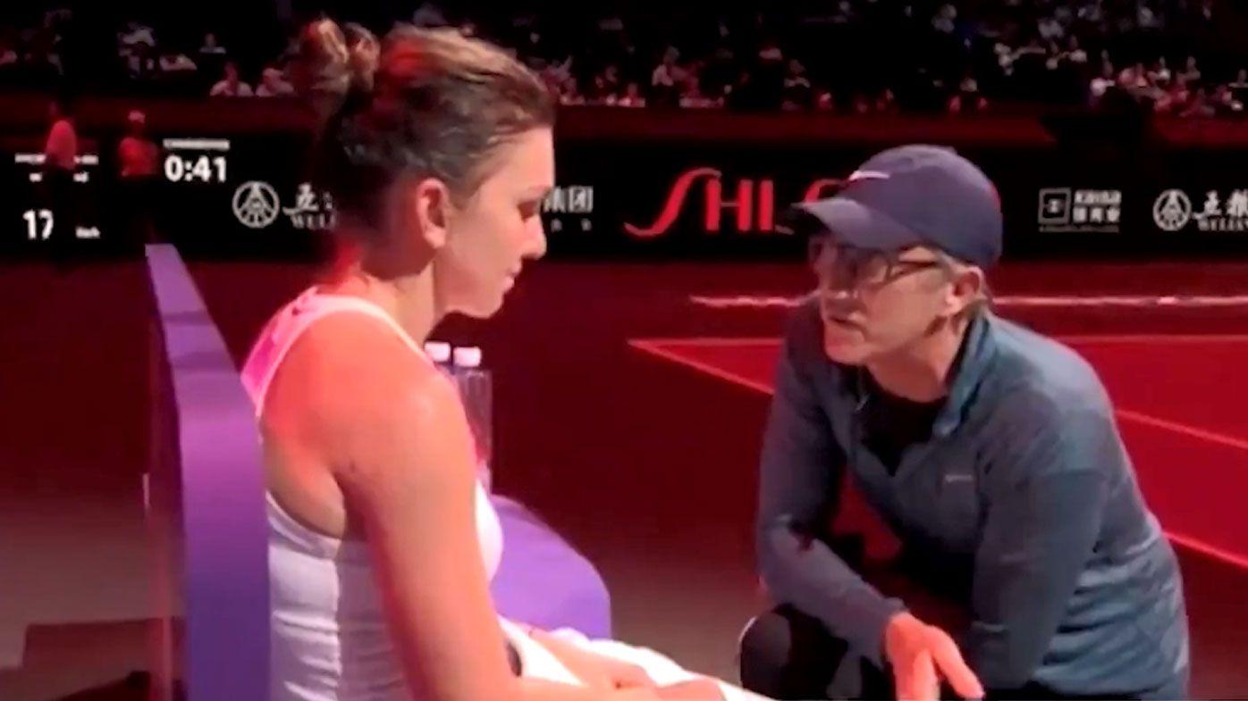 Darren Cahill gives SImona Halep a stern pep talk