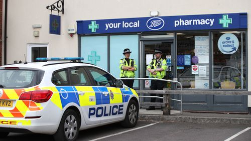 Police have shut down Boots in the Amesbury. Picture: AAP