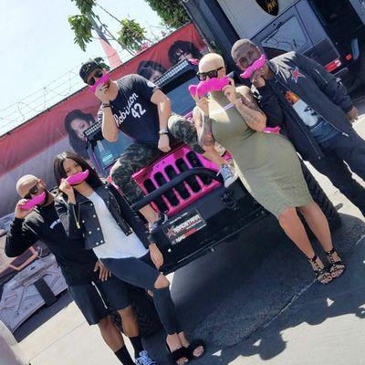 Amber Rose's pink moustache squad