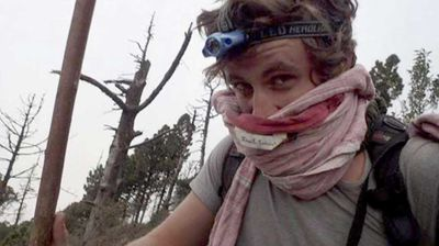 Australian hiker Justin Gallant says the volcano's eruption sounded like a 'huge bomb'. (Supplied/Justin Gallant)