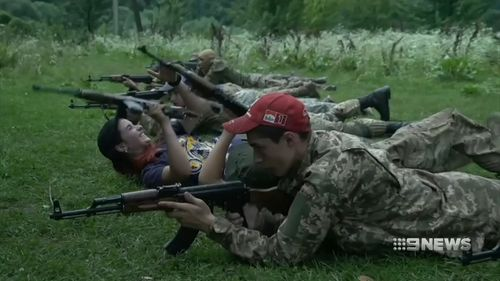 The camp is run by one of Ukraine's radical nationalist groups.