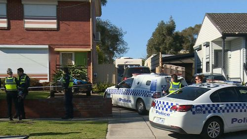 Paramedics treated the woman at the scene before transporting her to hospital. Picture: 9NEWS