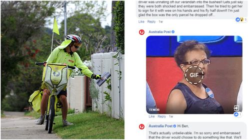 "Ben's delivery man story was described as ""unbelievable"" by the Post. Pictures: AAP file image/ Australia Post Facebook."