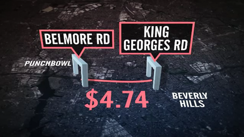 A two kilometre stretch of the M5 Motorway will cost drivers $4.74 from next month.