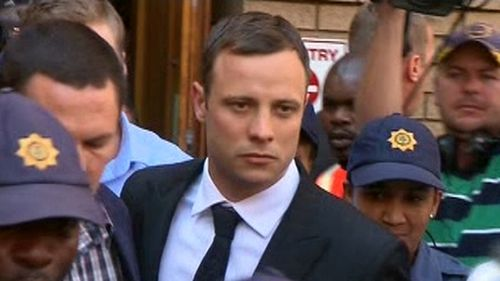Oscar Pistorius leaves court following the adjournment of his trial. (9NEWS)