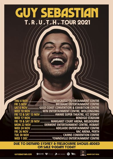 Tickets for Guy Sebastian's T.R.U.T.H. tour are on sale now.