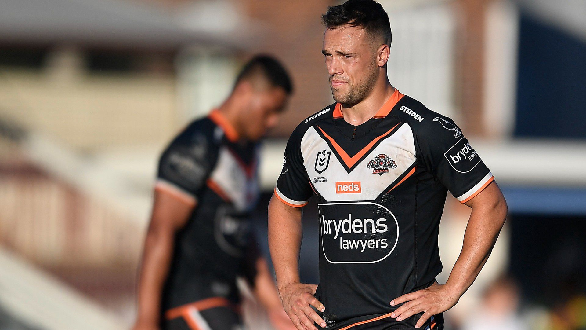 Wests Tigers finals drought extends to 10 seasons after heavy loss to Sharks