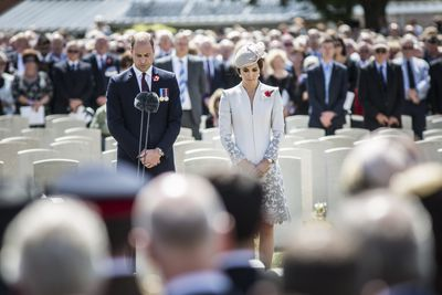 Prince William gave a short reading, while Kate laid flowers on German graves in a symbol of reconciliation.