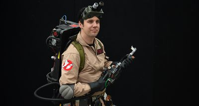 Fan Ben Fruend as a Ghost Buster. (AAP)