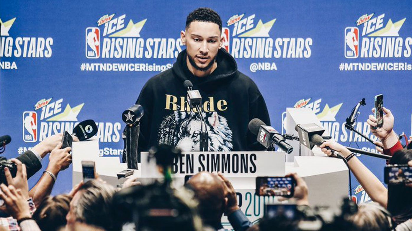Ben Simmons' classic response to bizarre cricket question, fronts huge media pack at All-Star weekend