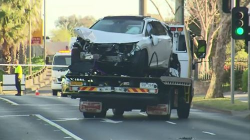The Lexus was eventually towed from the scene.