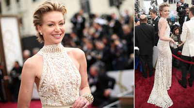 Portia de Rossi in an elegant white gown.