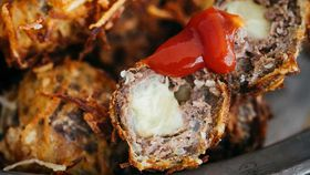 Billy Law's cheesy beef meatball popper in crunchy potato nests