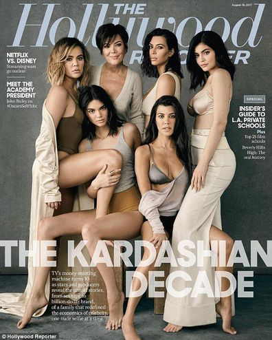Kris Jenner, daughters, Kourtney Kardashian, Kim Kardashian, Khloé Kardashian, Kendall Jenner, Kylie Jenner, cover, The Hollywood Reporter