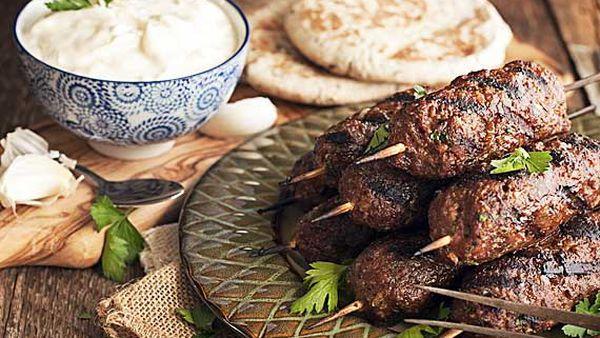 Lamb and chickpea koftas with yoghurt dip
