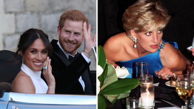 Meghan Markle's 'something blue' for her wedding reception was Princess Diana's aquamarine ring.