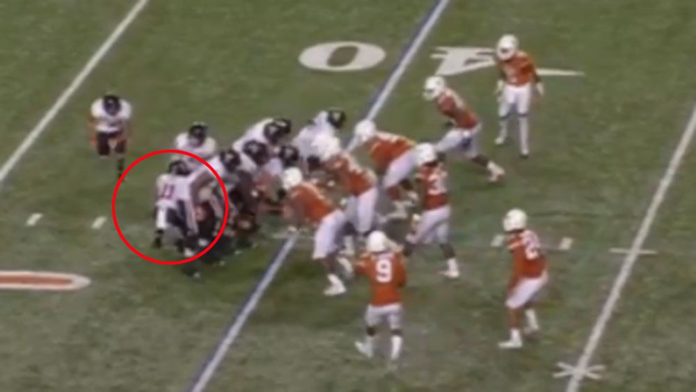 Jakeem Grant hides behind the Texas Tech offensive line. (Supplied)