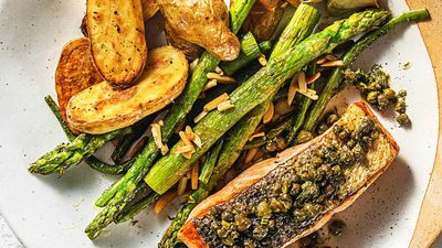 Basil pesto and macadamia crusted salmon