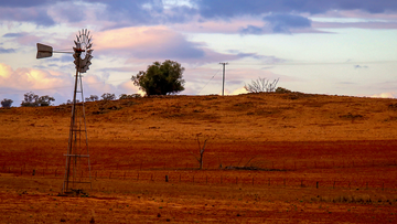 A windmill stands in a drought-effected paddock on September 18, 2019 located on the outskirts of Dubbo.