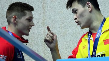 Sun Yang gets in Duncan Scott's face after the Briton's protest.