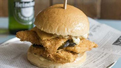 Crown Street Fish Shop's triple stack fish burger