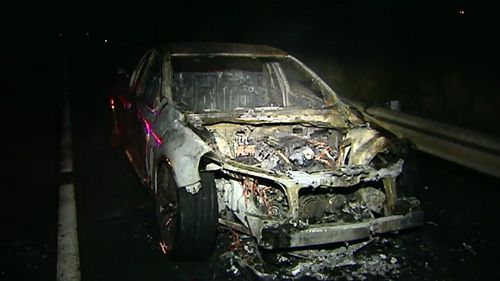 A ute was gutted by fire at Jacobs Well. (9NEWS)