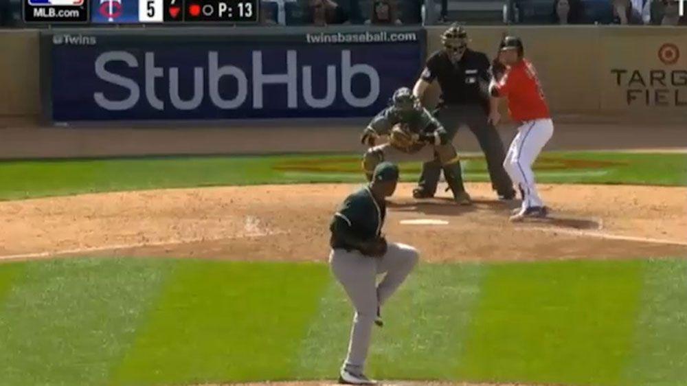 MLB umpire cops groin shot from errant baseball