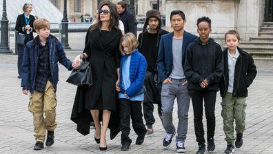 Angelina Jolie and children Maddox Jolie-Pitt, Shiloh Jolie-Pitt, Vivienne Marcheline Jolie-Pitt, Knox Leon Jolie-Pitt, Zahara Jolie-Pitt and Pax Jolie-Pitt are seen leaving the Louvre museum on January 30, 2018 in Paris, France.