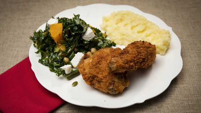 "Recipe: <a href=""https://kitchen.nine.com.au/2017/11/07/12/20/family-food-fight-the-shahrouk-sisters-fried-chicken-with-mash-and-kale-and-pumpkin-salad"" target=""_top"">Family Food Fight: The Shahrouk sisters&rsquo; fried chicken with mash</a>"