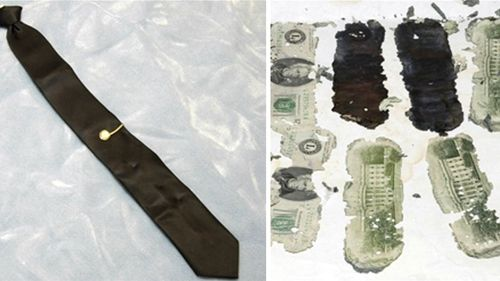 DB Cooper's tie with a unique tie clip was left behind. And some of the money was found many years later.