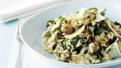 "Recipe: <a href=""http://kitchen.nine.com.au/2016/05/19/10/12/risotto-of-whiting-peas-bottarga"" target=""_top"">Risotto of whiting, peas and bottarga</a>"