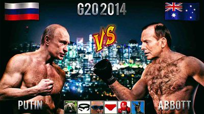 "<p>It took only seconds after Tony Abbott threatened to ""shirtfront"" Vladimir Putin at the G20 in Brisbane next month for the memes and photoshopped images to flood social media showing Abbott and Putin in battle.</p><p> Scroll through our gallery to see some of the best and strangest images of the two leaders in what is shaping up to be the battle of the century. </p><p> <i>(All images DesignCrowd)</i></p>"